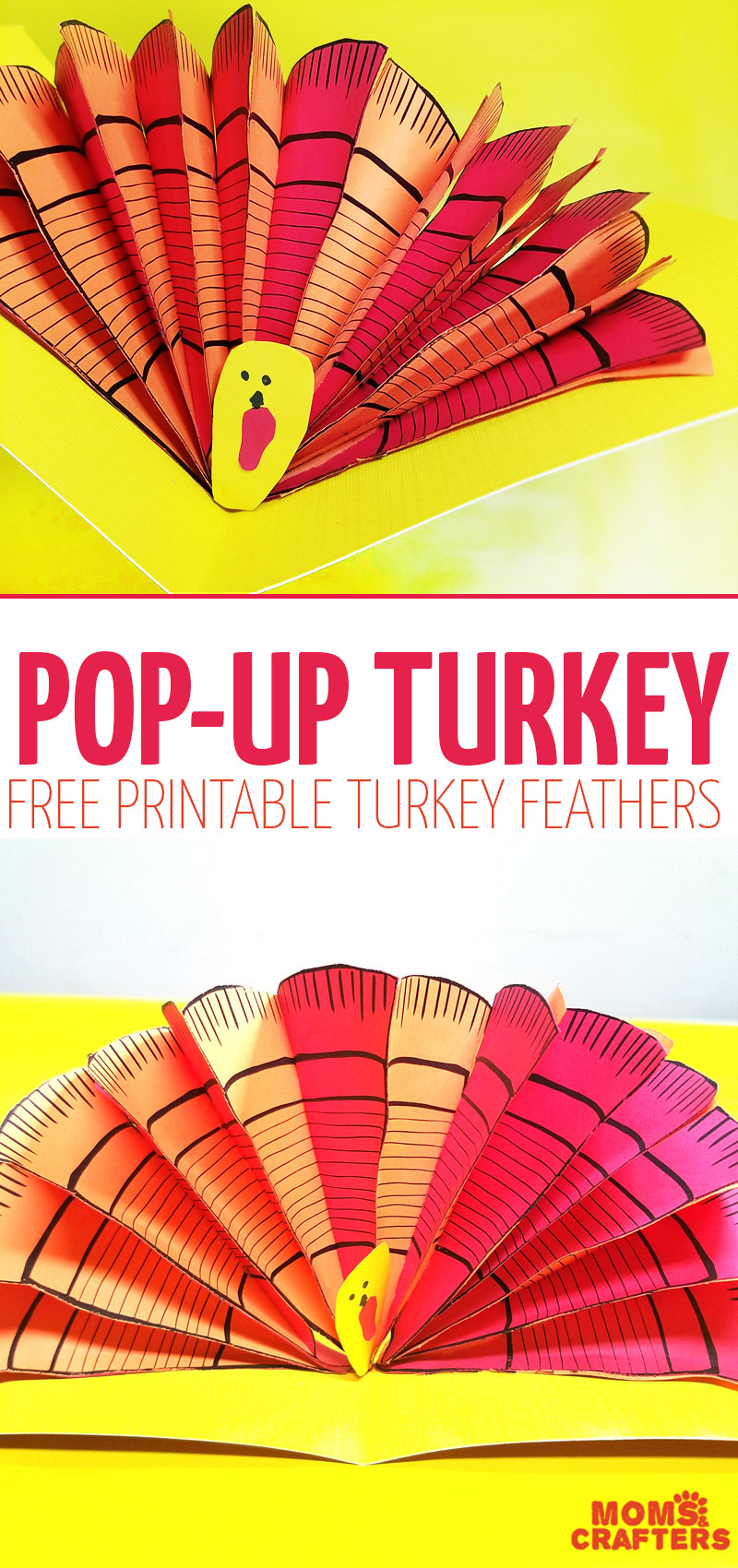 graphic relating to Turkey Feathers Printable referred to as Pop Up Turkey Craft - free of charge printable Turkey feathers * Mothers