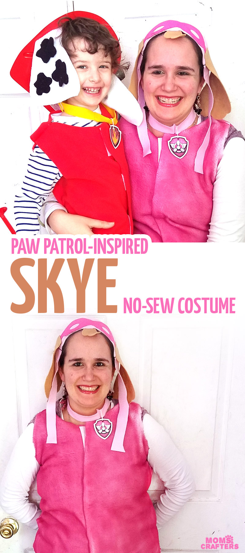 Make this fun SKYE PAW PATROL COSTUME - an easy DIY costume for preschool girls, or perfect for a PAW Patrol family costume idea!