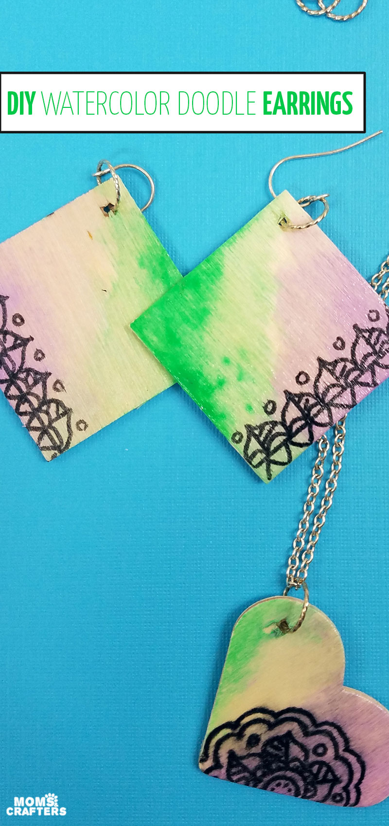Click to learn how to make these watercolor doodle earrings - a fun and easy jewelry making project for teens and tweens, and great for beginners too!