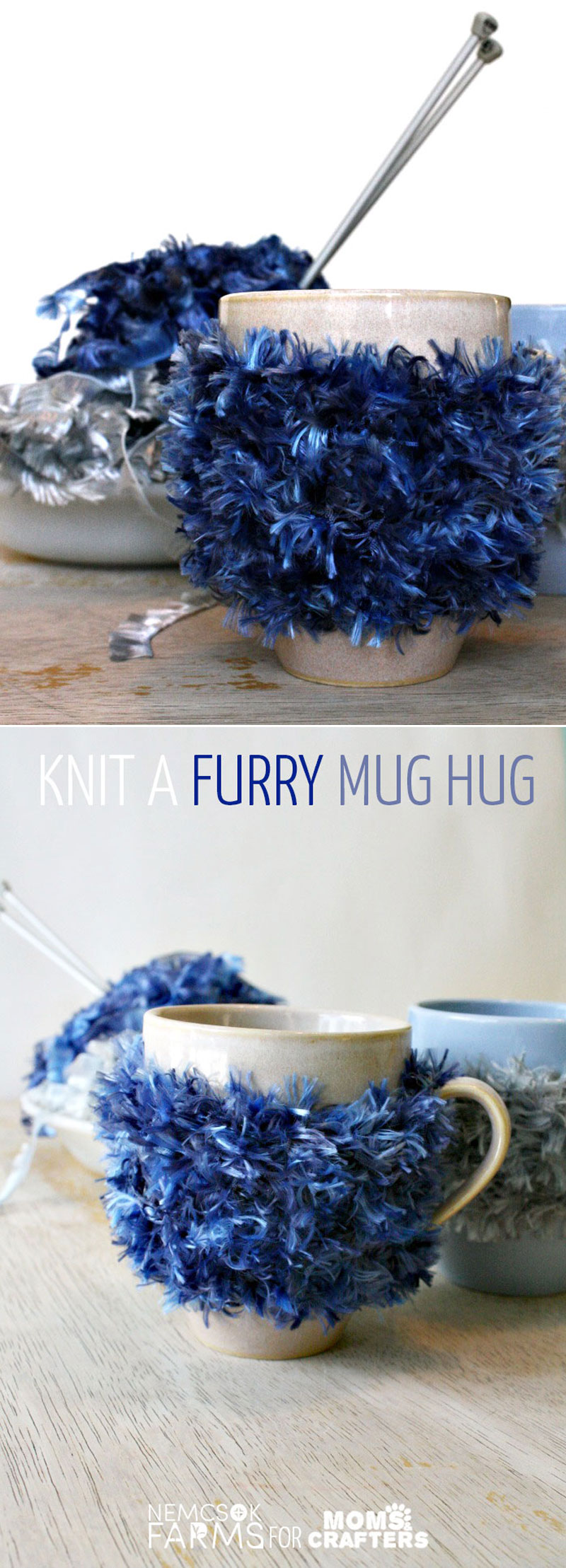 Knit a fun furry mug hug - this easy DIY mug cozy tutorial is the perfect beginner knitting project for teens and tweens and includes a free knitting pattern!