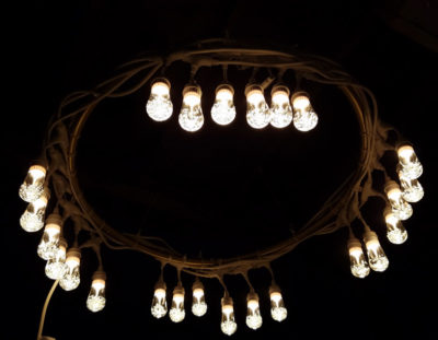 Outdoor Chandelier from a Hula Hoop