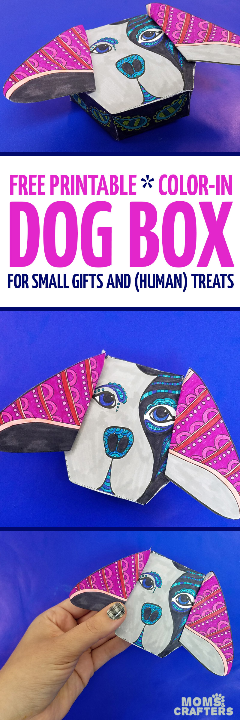 This Adorable Free Printable Dog Coloring Page For Adults Turns Into A Box Treats