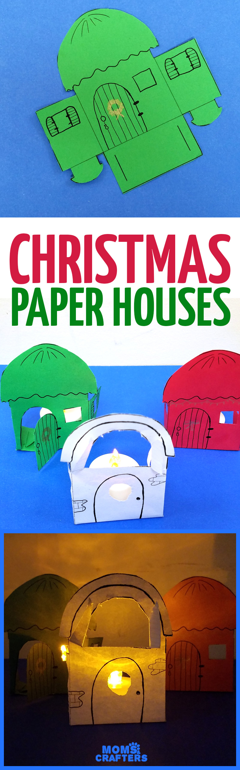 Paper houses a unique christmas paper craft free printable make these super easy christmas paper houses a free printable and a cool paper craft jeuxipadfo Image collections