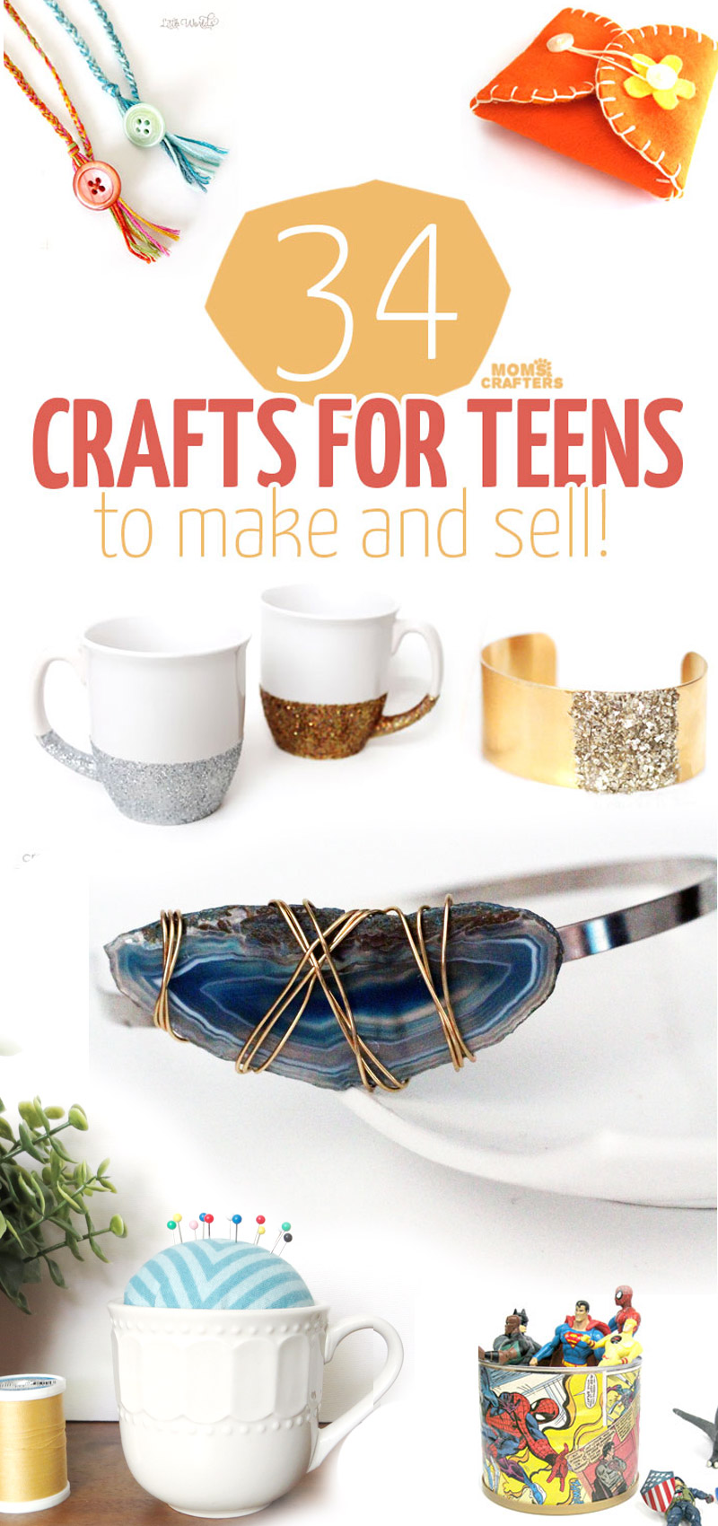 34 fun, functional crafts for teens to make and sell! What a great activity for teens and tweens - marketing handmade items and selling on Etsy! Here is a great list of DIY projects and ideas to start with. #teencrafts #diy #crafts