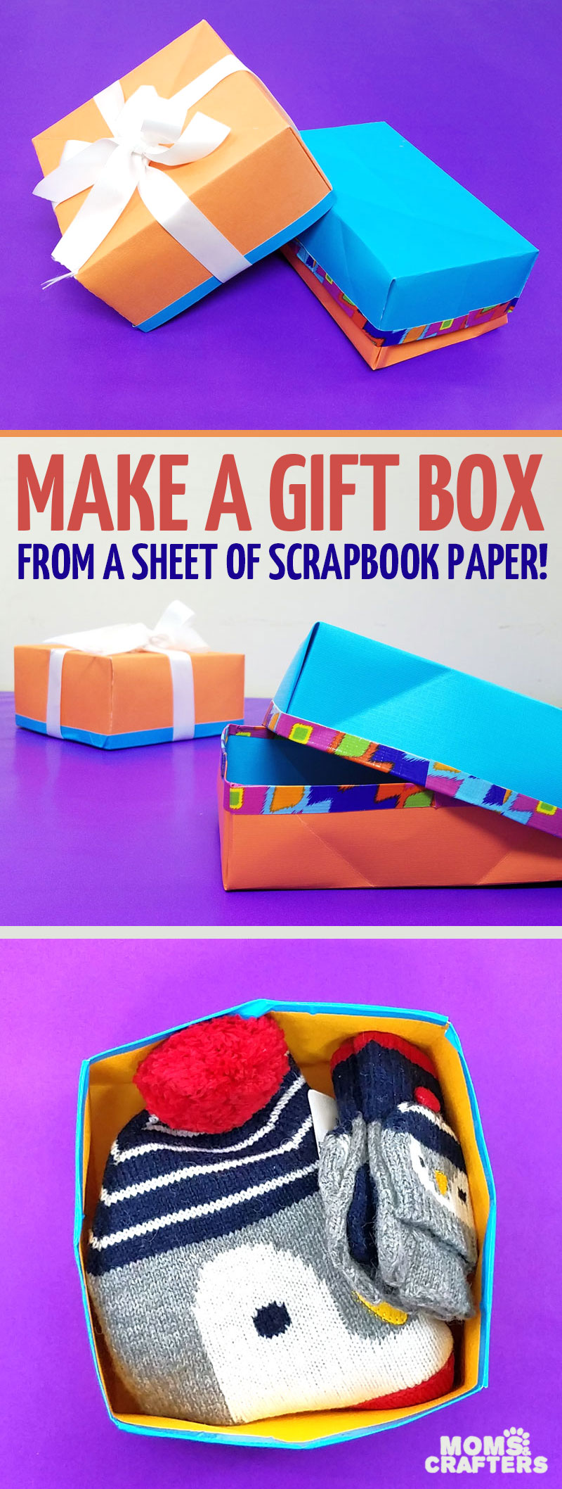 Make this easy DIY gift box from a single sheet of scrapbook paper - isn't that a super cool papercraft for Christmas or Hanukkah - or for gifts any time of year? I love this easy gift wrap idea and paper crafts for kids, teens, tweens, or adults. #papercraft #origami #papercrafts #diy #giftbox