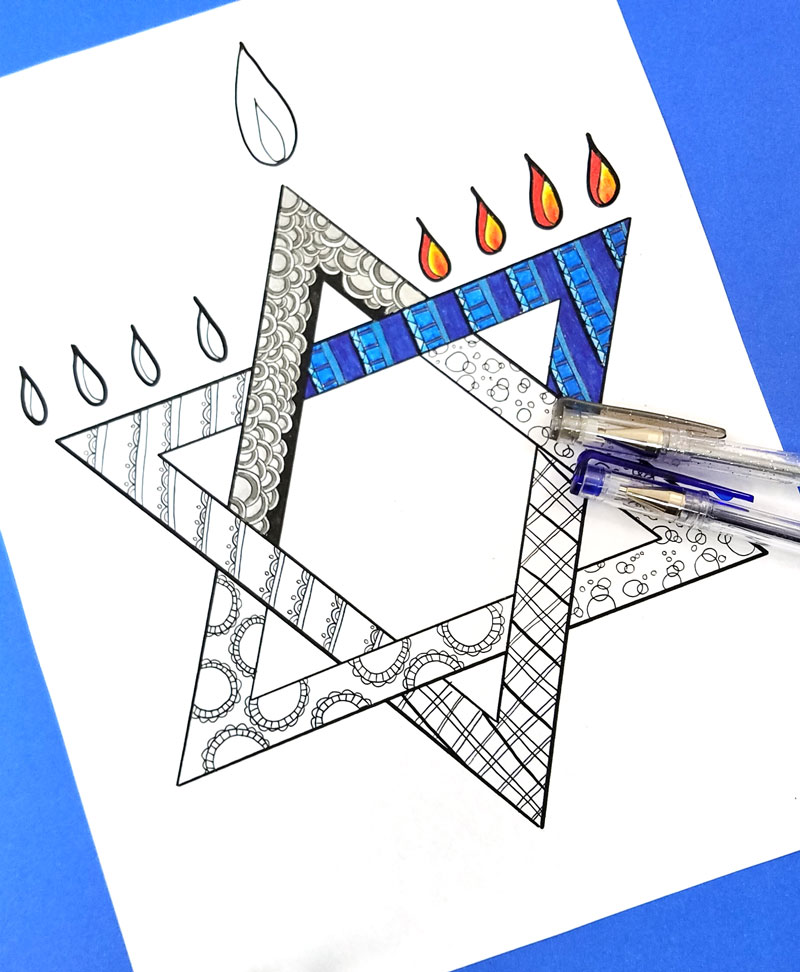 This free printable Hanukkah coloring page for adults is a great Hanukkah activity or craft! Engage the grown-ups at your Chanukah party, use it as Hannukah decor or just unwind with it over a plate of latkes!