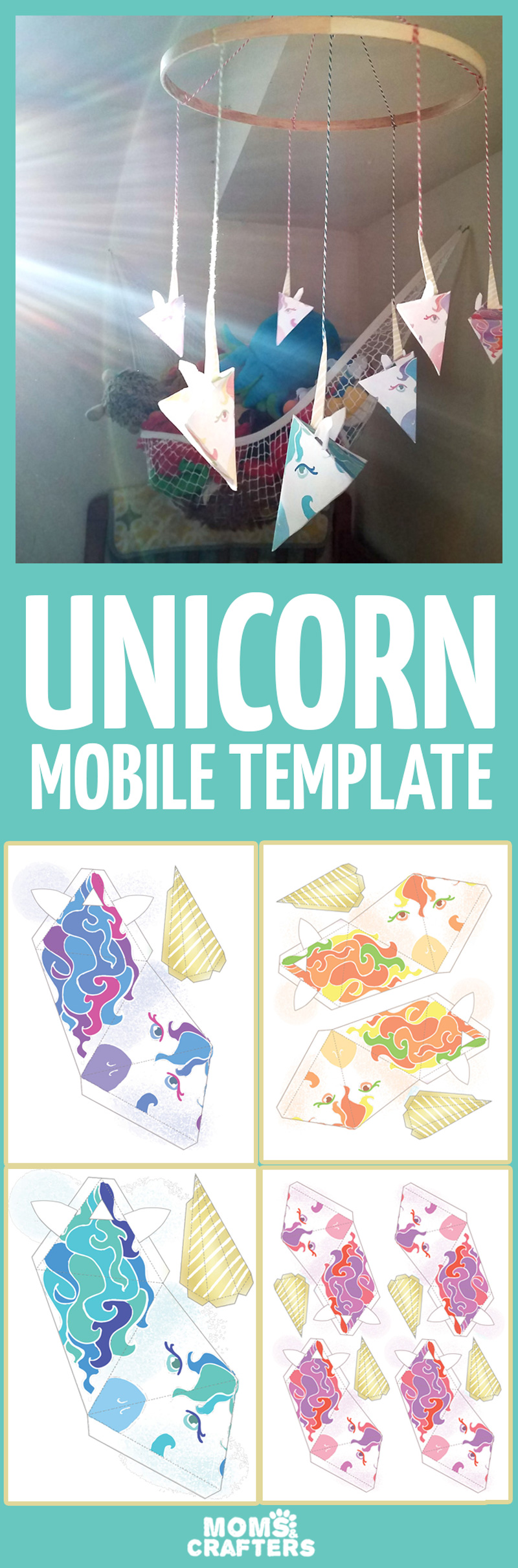 Unicorn Paper Craft Template - Make a Mobile! - Moms and Crafters