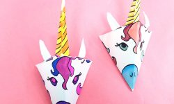This adorable unicorn paper craft is quite unique - get the free color-in template coloring page for adults (or kids) and then assemble this super easy craft! You can turn it into a baby mobile if you'd like too, for adorable unicorn nursery decor. #unicorns #unicorn #papercraft #papercrafts #coloringpages #adultcoloring
