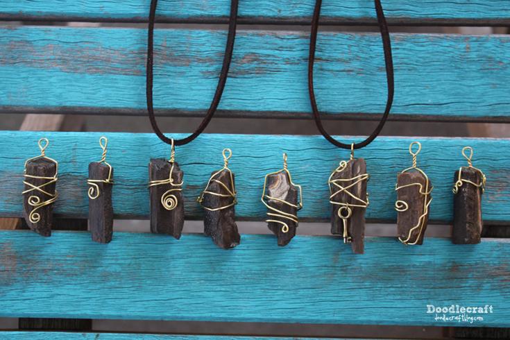 Wire wrapped petrified wood pendants