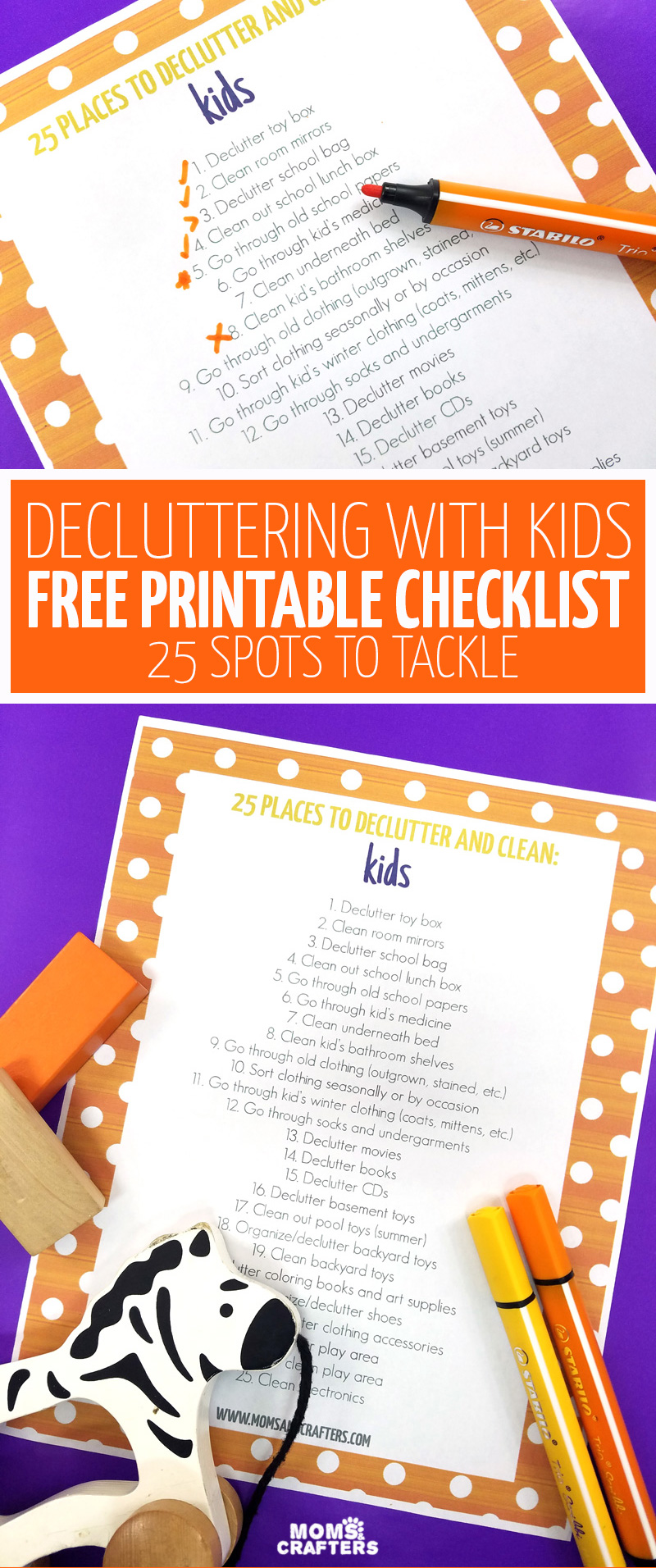 Ducluttering with kids is made simple with this easy to use organization checklist featuring 25 places to declutter and clean with children. You'll love this free printable organizing list for getting your playroom, kids rooms, and more in order. #organization #decluttering #kids