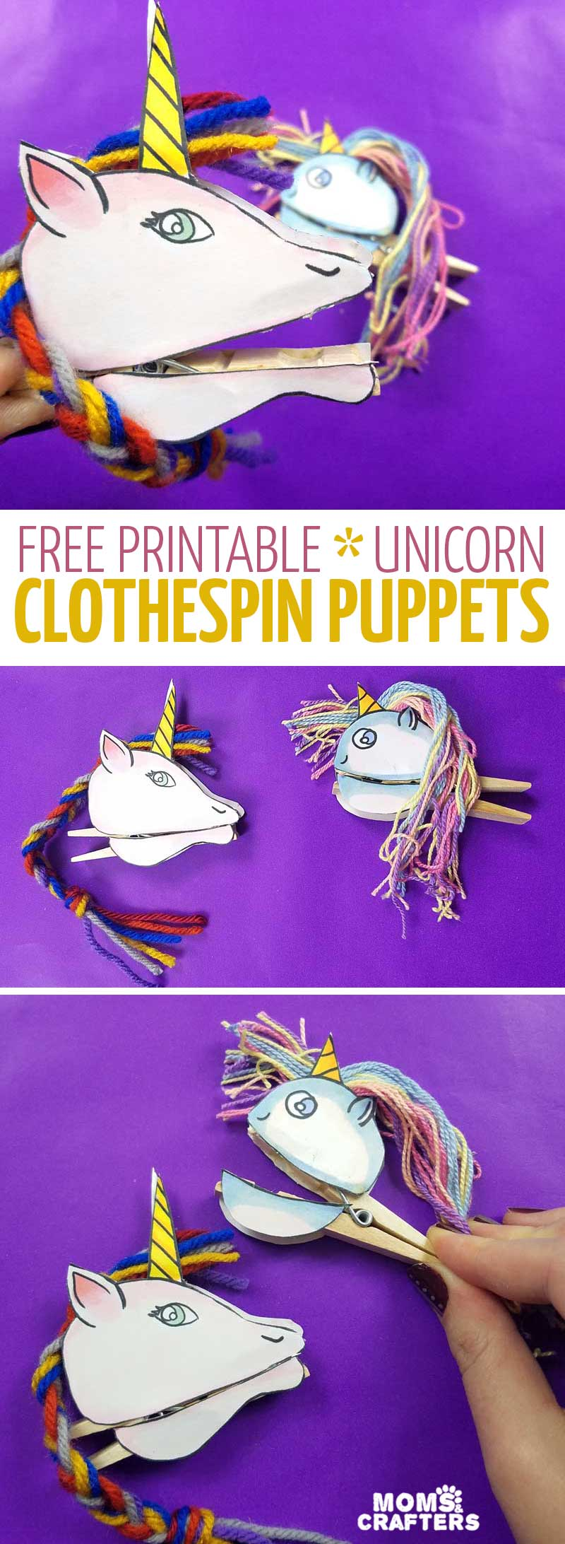 Paper Unicorn Clothespin Puppets