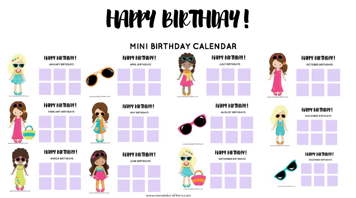Grab this free printable tween birthday calendar and tracker to keep tabs on friends birthdays #tweens #teens #birthdayparty
