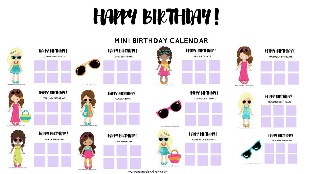 Grab this free printable tween birthday calendar and tracker to keep tabs on friends birthdays #tweens #teens #birthdayparty