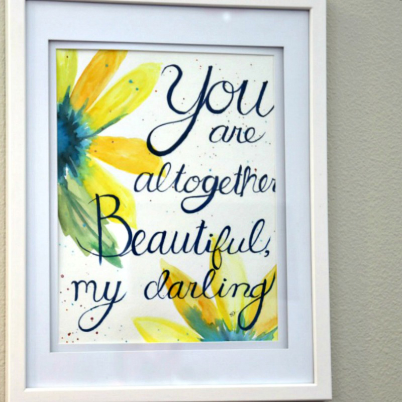 Beautiful quote watercolor art with watercolor paint set