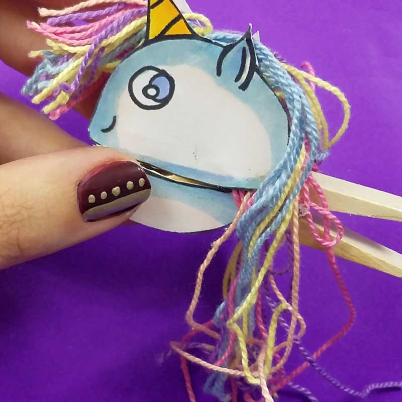 Unicorn clothespin puppets - free printable - step 14