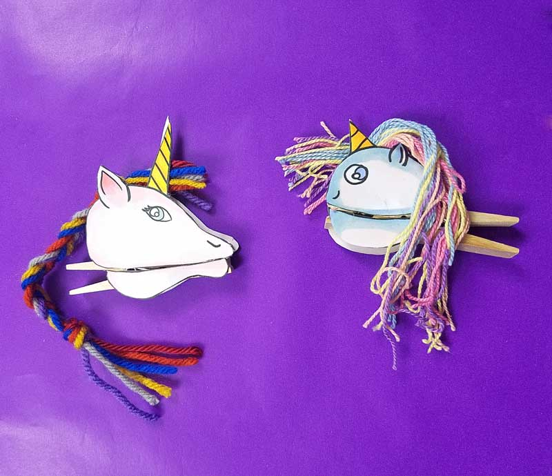 Unicorn Clothespin Puppets both