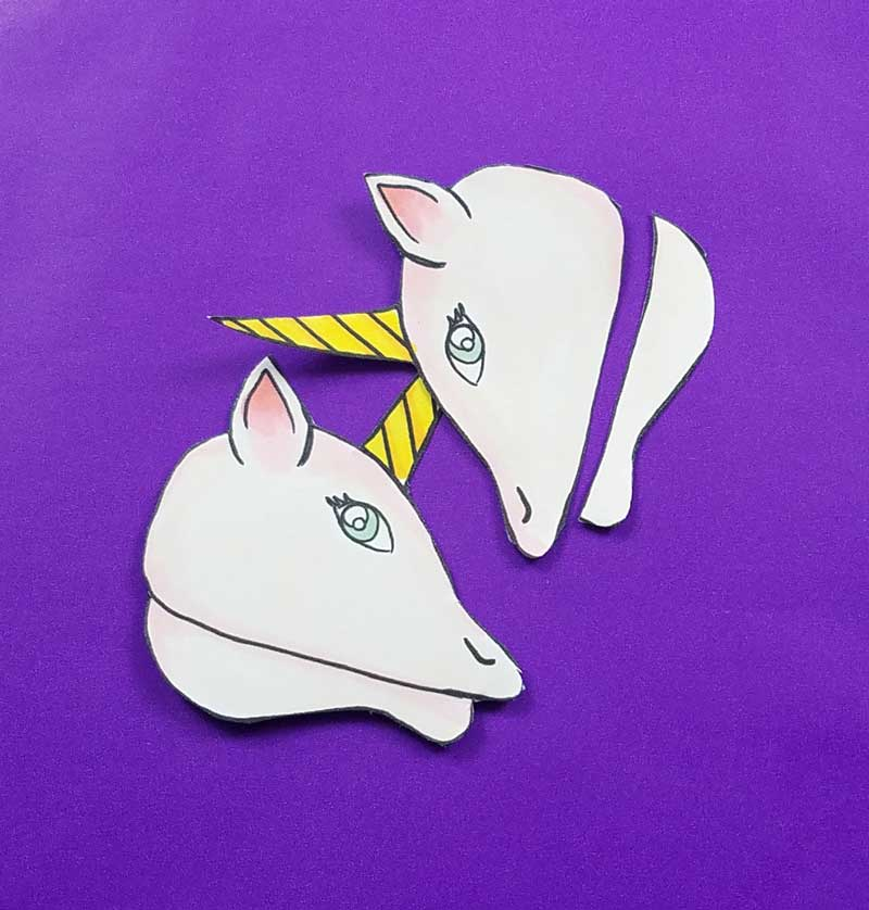 Unicorn clothespin puppets - free printable - step 2