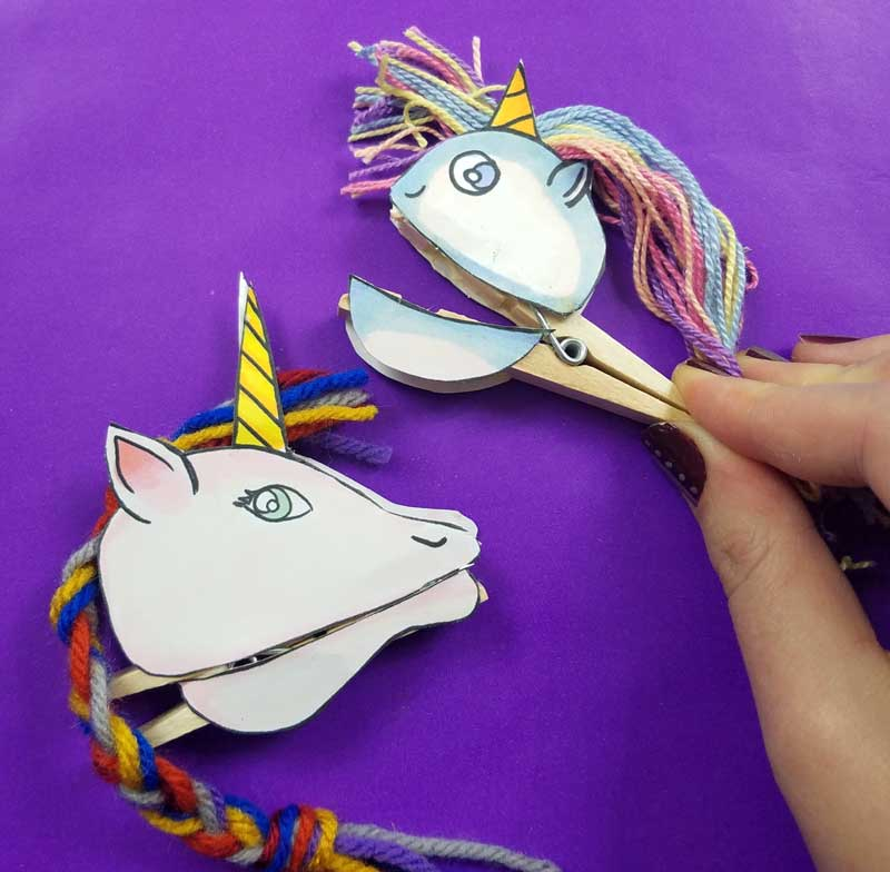 Clothespin Puppets Unicorns Free Template Moms And