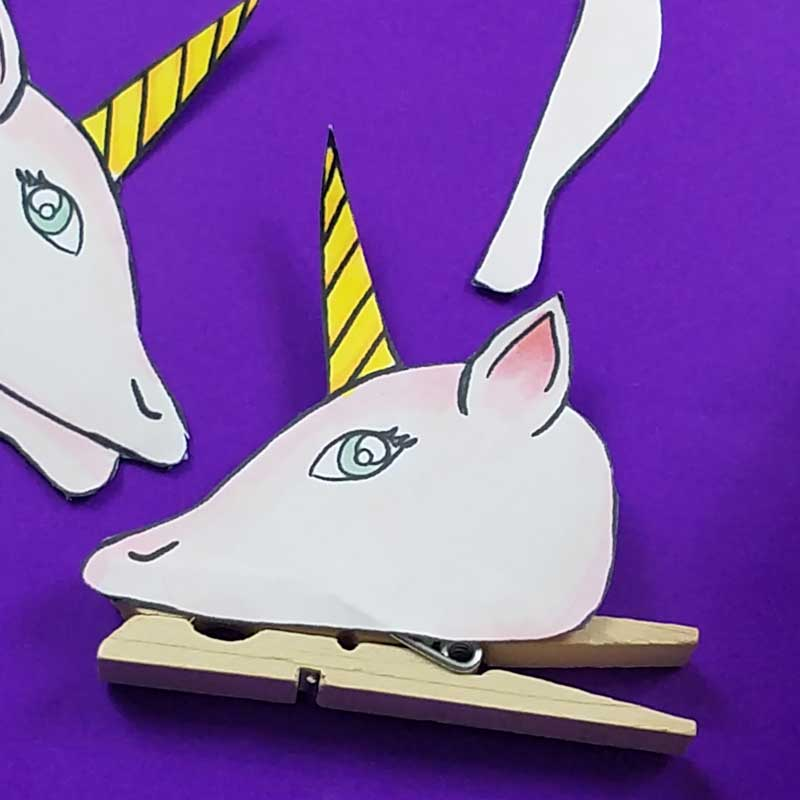 Unicorn clothespin puppets - free printable - step 3