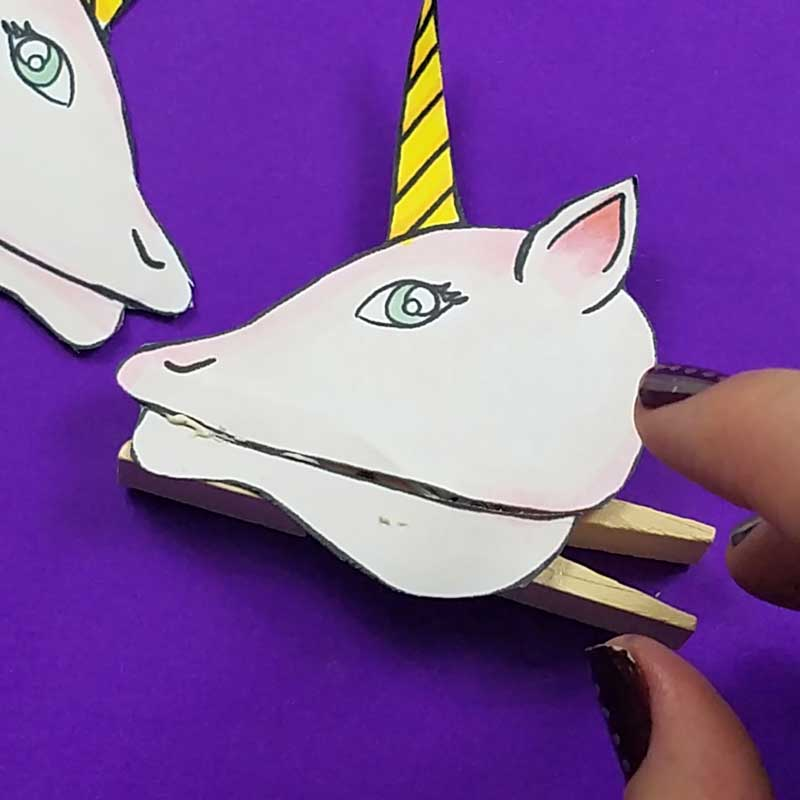 Unicorn clothespin puppets - free printable - step 4