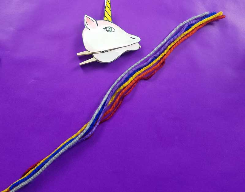 Unicorn clothespin puppets - free printable - step 5