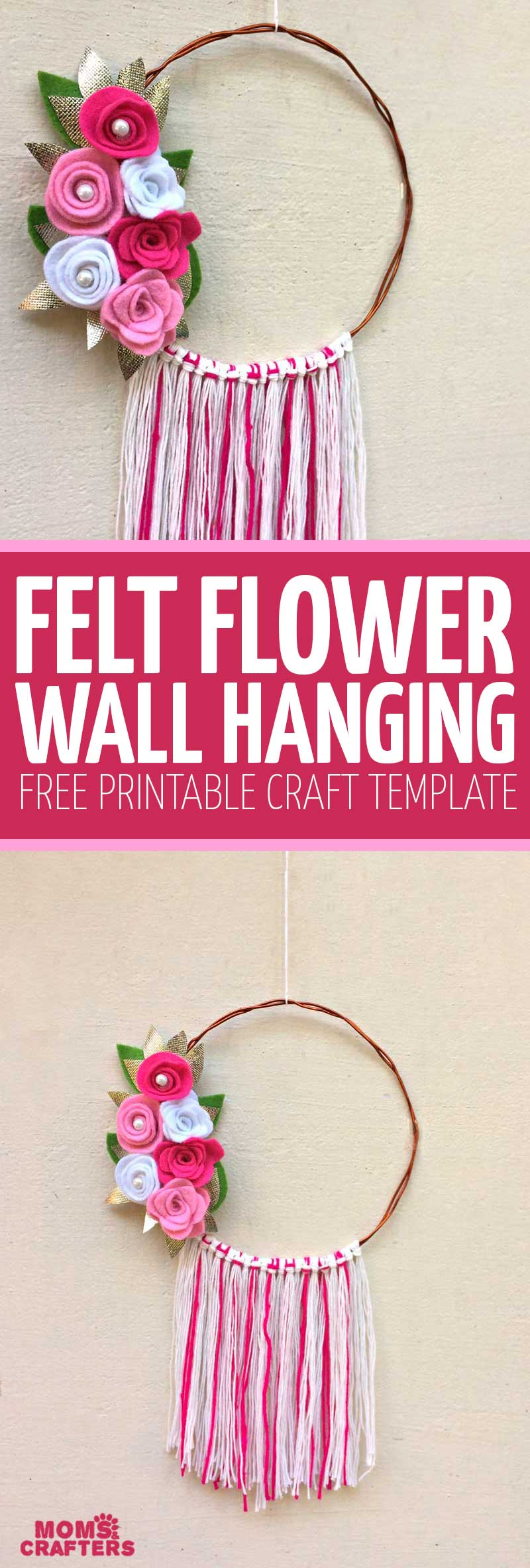 Make this beautiful DIY felt flower wreath or wall hanging for Spring - it's a super cool Spring craft for tweens and teens - and grown-ups too! This floral Spring and Summer home decor comes with a free printable template to make your own felt flowers #springdecor #teencrafts #flowers