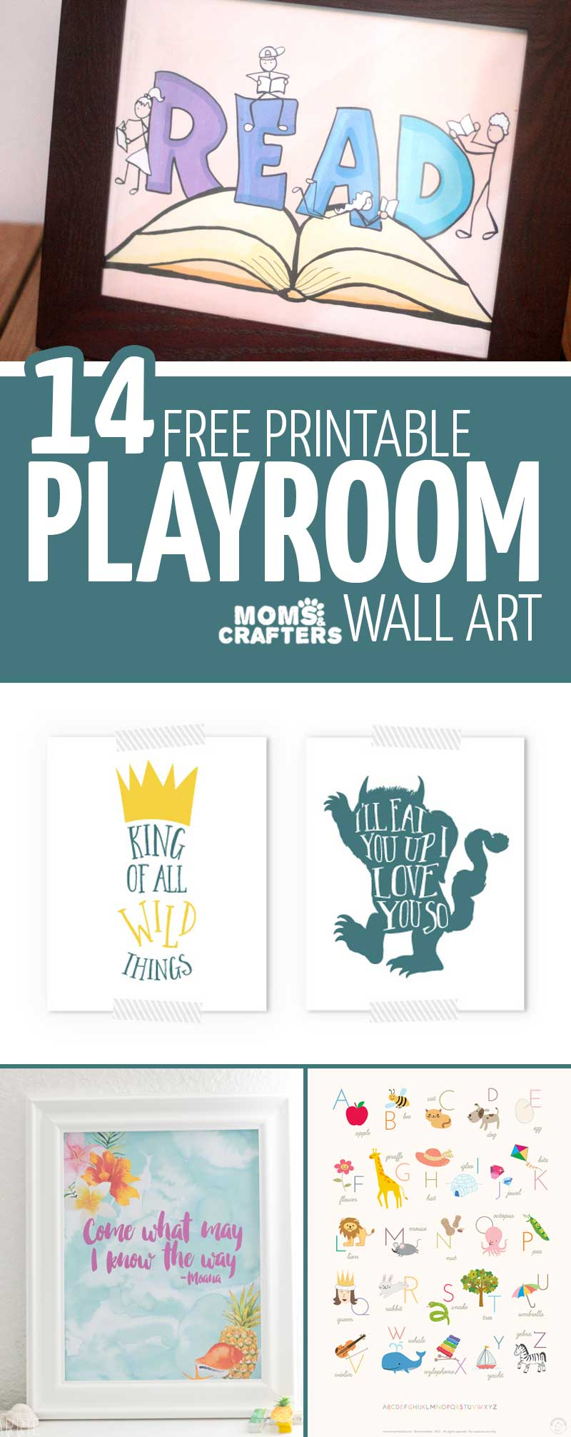 Free Playroom Printables - including beautiful book inspired wall art for your kids room or nursery! #wallart #decor #momsandcrafters
