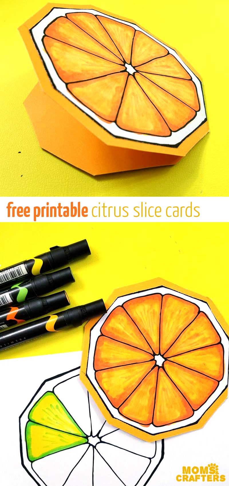 These citrus slice fruit cards are sooo cute - print the free printable and color it in this cool coloring page for kids, teens, tweens, and adults! This cool paper cardmaking craft is so simple and easy for beginners - perfect for Summer! #cardmaking #citrus #momsandcrafters