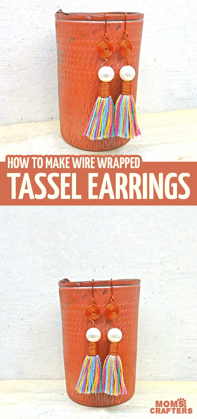 Learn how to make tassel earrings in this fun and quirky DIY jewelry making tutorial for beginners! You'll learn this basic wire wrapping idea - and it's a perfect craft for teens!