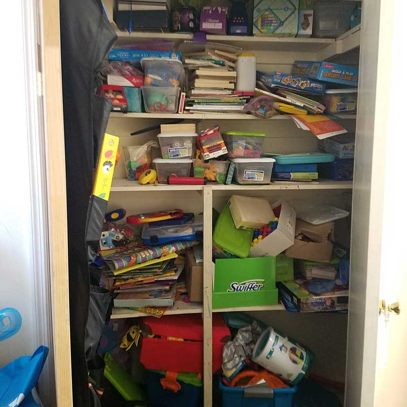 Before I organized my toy closet this is what it looked like - now you've got to check it out!
