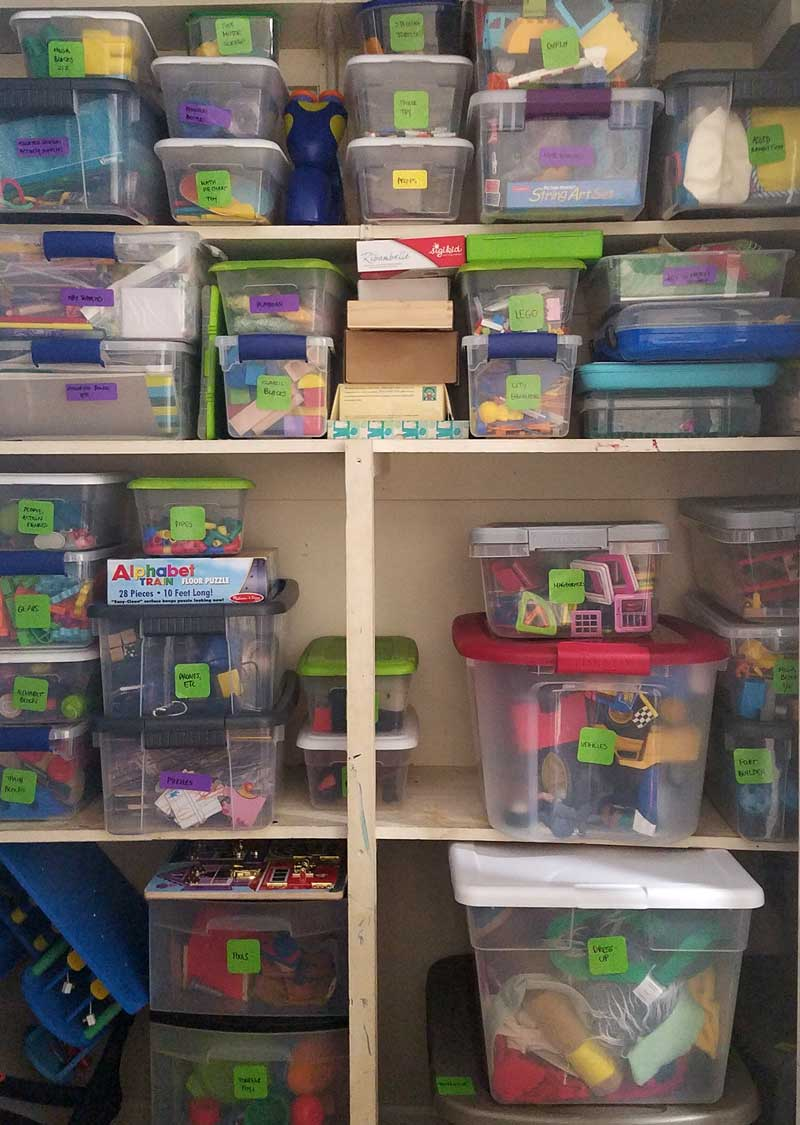 This is what my playroom organization looked like after I finished up the toy closet