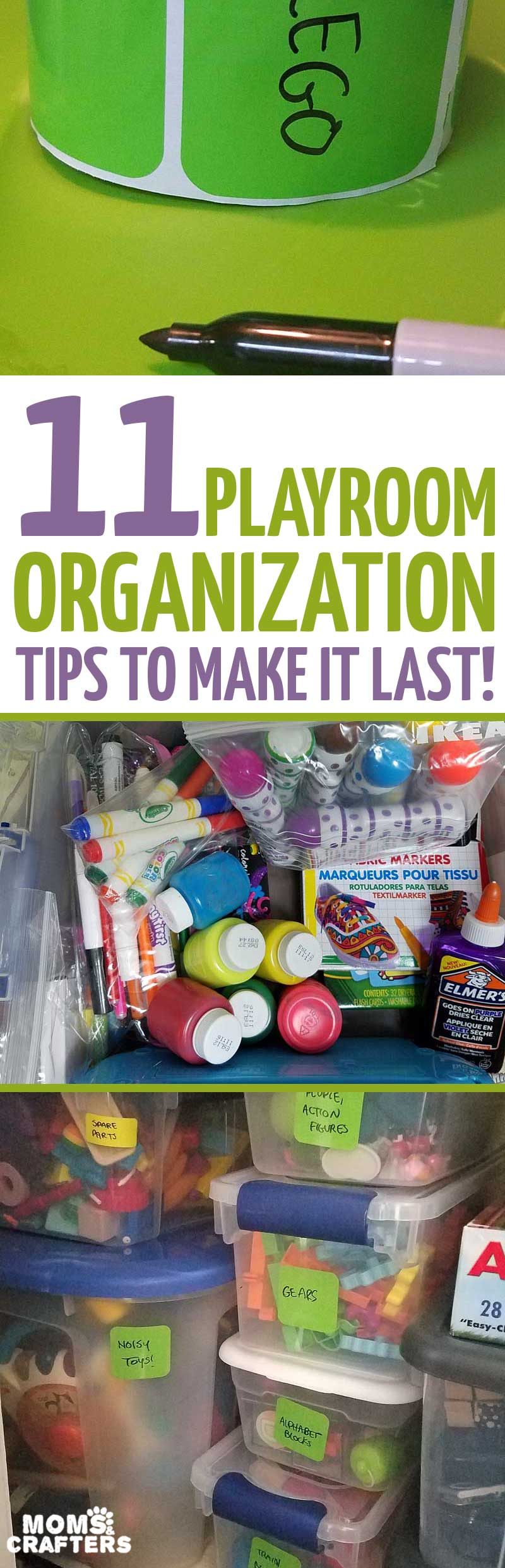 You'll totally nail your playroom organization with this step-by-step guide that's full of toy organization hacks that I implemented in my own home. These Toy organization ideas for small spaces are perfect for a living room and are totally cheap, including which bins and labels to use, and how to keep your playroom closet neat even with a toddler! #organization #playroom #momsandcrafters