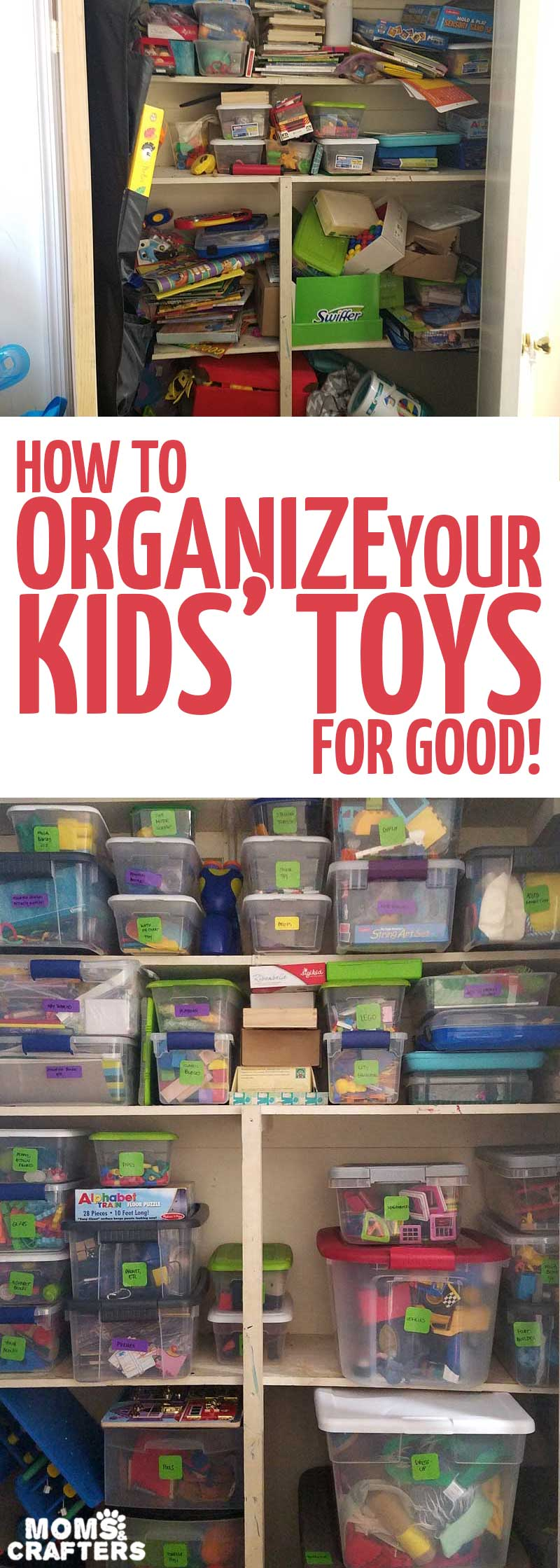 These playroom organization tips and tricks are brilliant - you'll get your kids' toys organized for good! These toy organization hacks and how-tos will stay clean and anyone can do it.