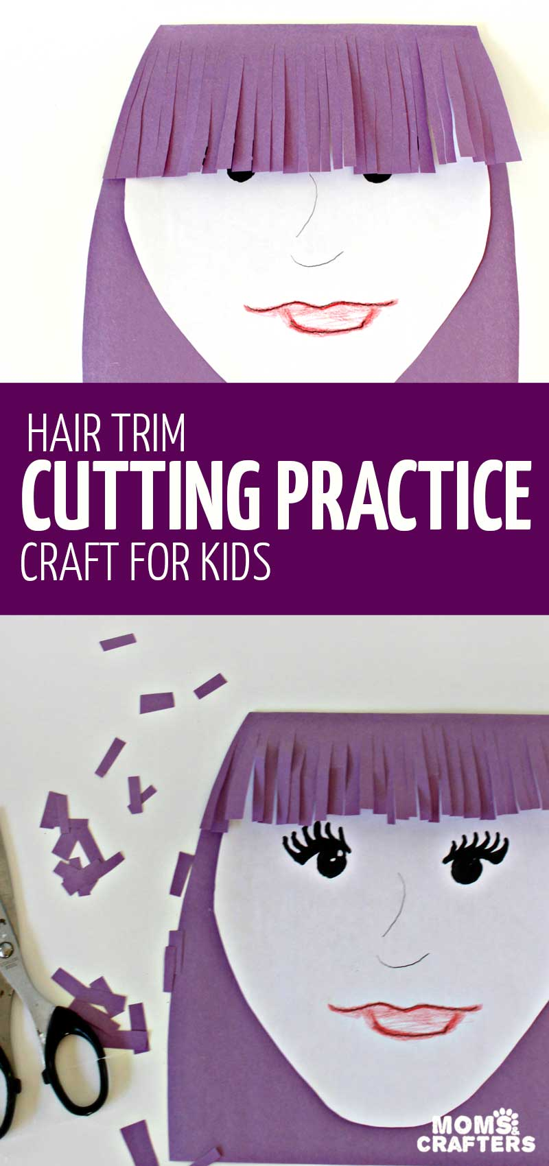 This fun scissors practice activity and craft for preschoolers and kindergarten will have your little one trimming some bangs! Such a great way to devleop cutting and scissors skills! #preschool #kindergarten #kidscrafts #momsandcrafters