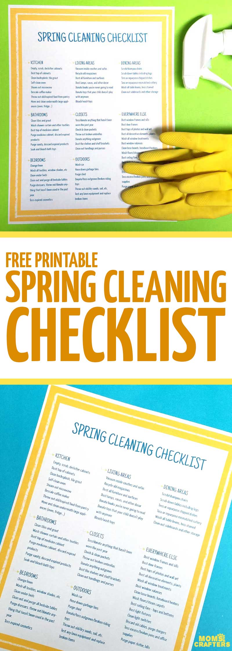 One of my favorite spring cleaning tips: use a free printable spring cleaning checklist to make sure you don't forget anything! This in-depth checklist is so pretty to keep around and easy to use. #springcleaning #cleaningtips #momsandcrafters