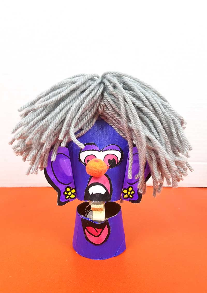 gray haired lady with pom pom nose toilet paper roll clothespin puppets