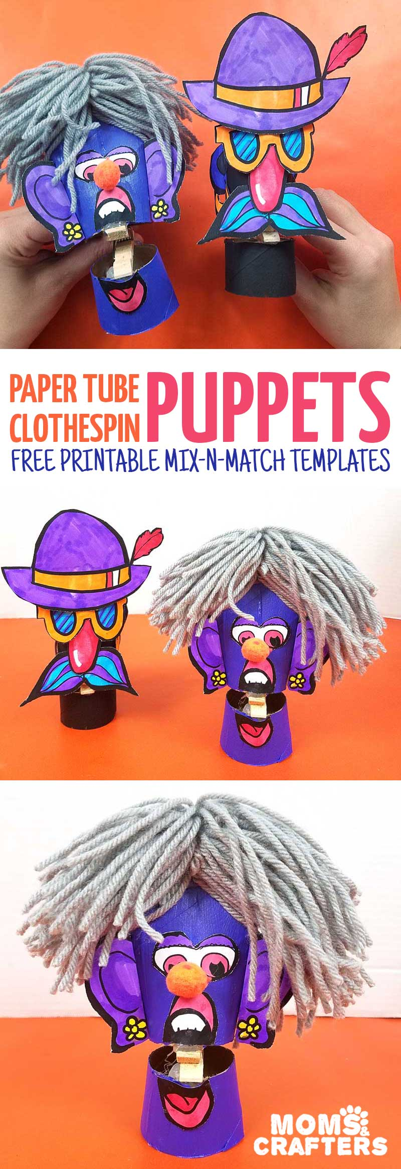 Make these adorable toilet paper roll clothespin puppets using the free paper craft template! It includes loads of mix and match facial featues and accessories and is a fun recycled paper tube arts and crafts project for kids, tweens, teens, and adults.