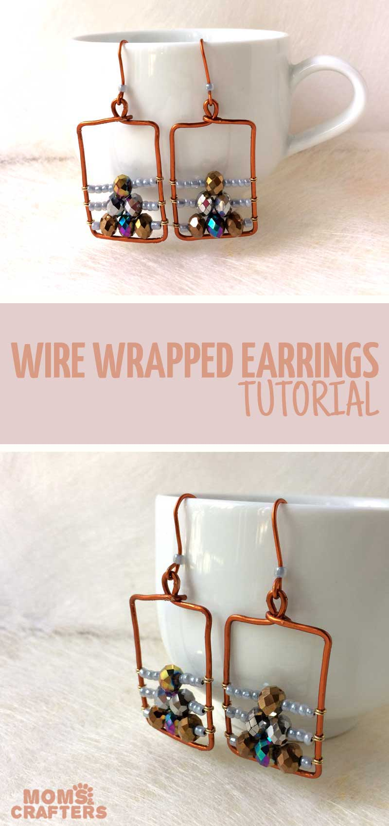 Beautiful, classy wire wrapped earrings tutoiral for beginners (or experts...) These cool DIY earrings ideas are easy and a touch of Bohemian too. The simple pattern with stones and beads are easy to learn how to make. #diyjewelry #earrings #momsandcrafters