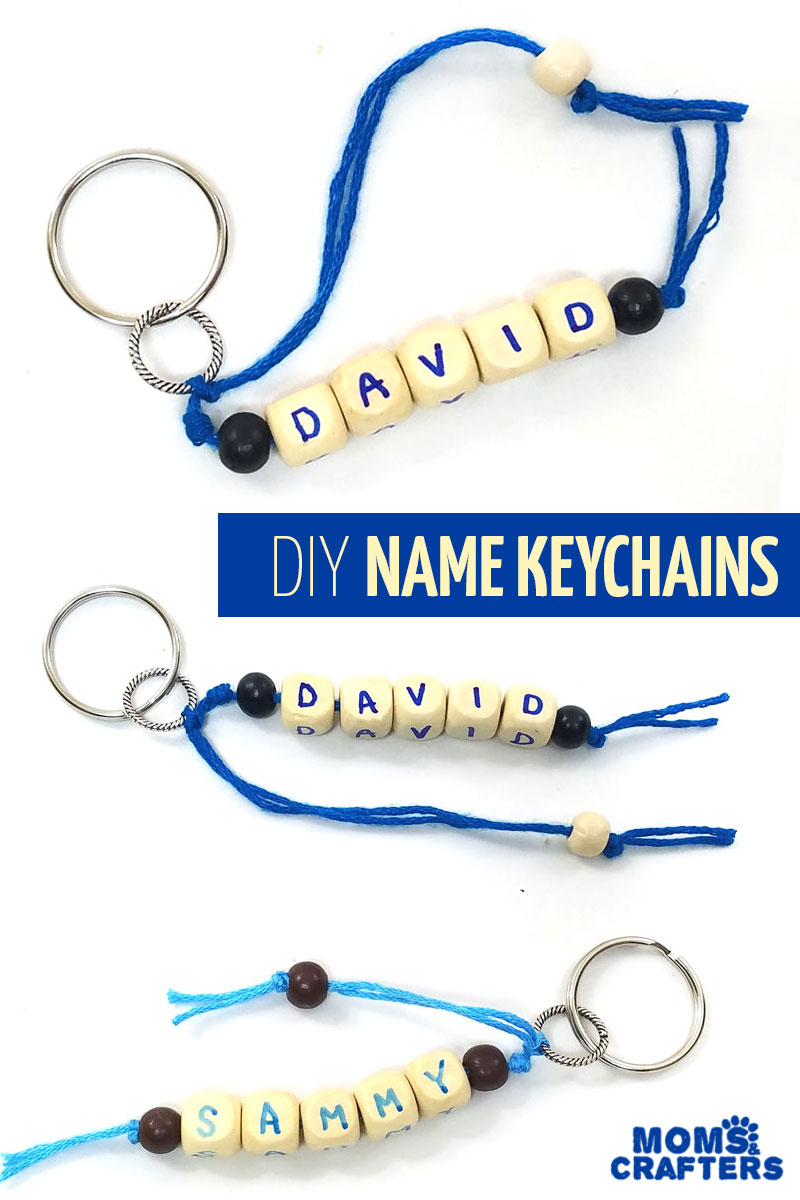 Make your own DIY personalized name keychains summer camp craft for teens and tweens - including teenage boys! This fun craft idea is easy to make and includes adorable key rings that can be given as gifts or kept! #crafts #teencrafts #momsandcrafters