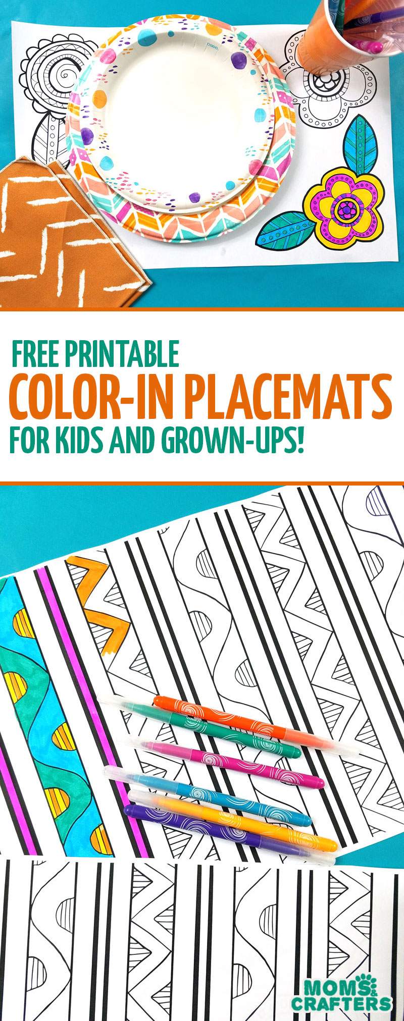 Download and print these free printable color-in placemats! These fun pattern and spring designs are perfect adult coloring pages - and simple enough fo big kids, teens, and tweens! What a fun spring or summer picnic idea! #picnic #adultcoloring #momsandcrafters