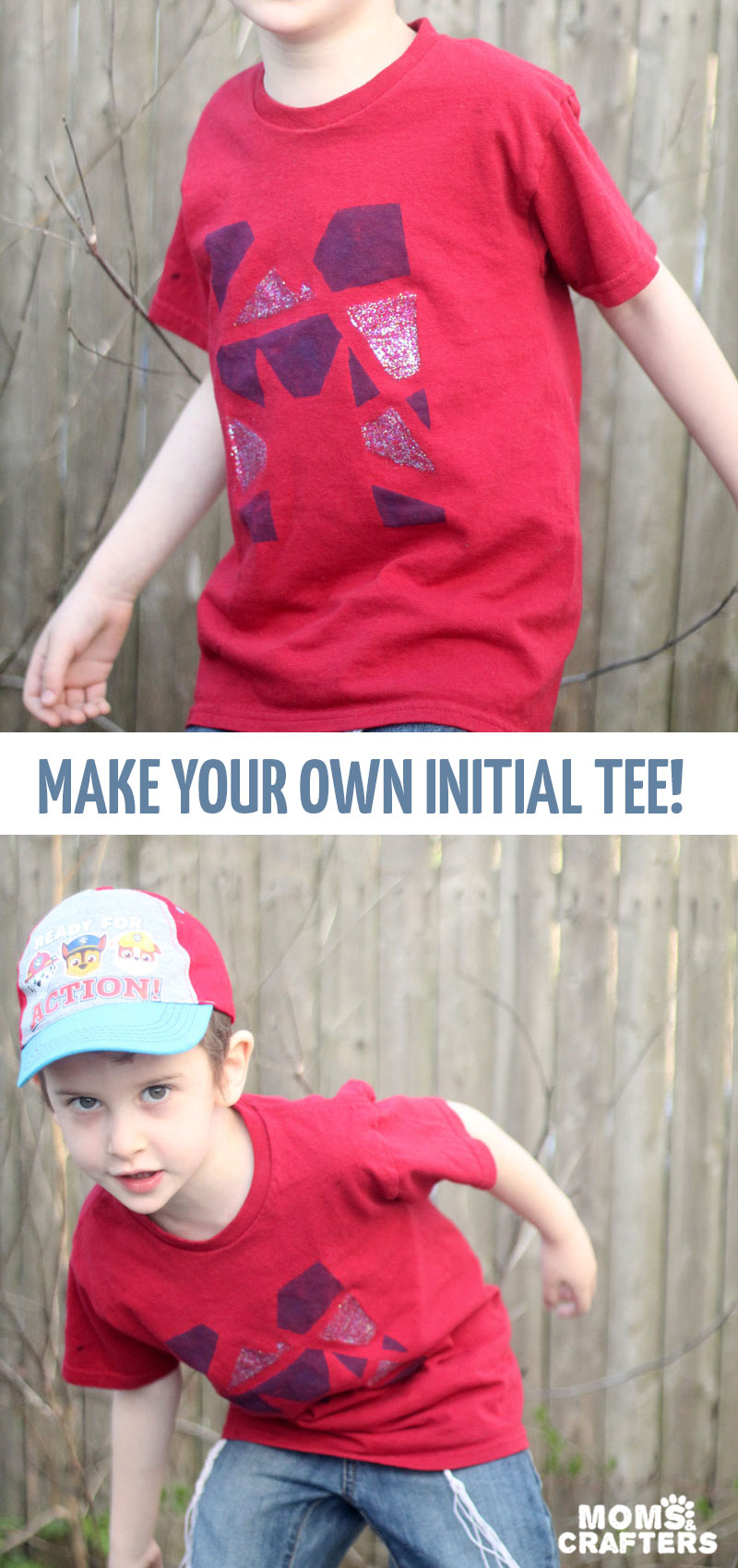Make your own DIY monogram shirt for kids teens or tweens! This cool painted fabric initial tshirt craft makes a cool summer camp craft too! #crafts #momsandcrafters #diyshirt