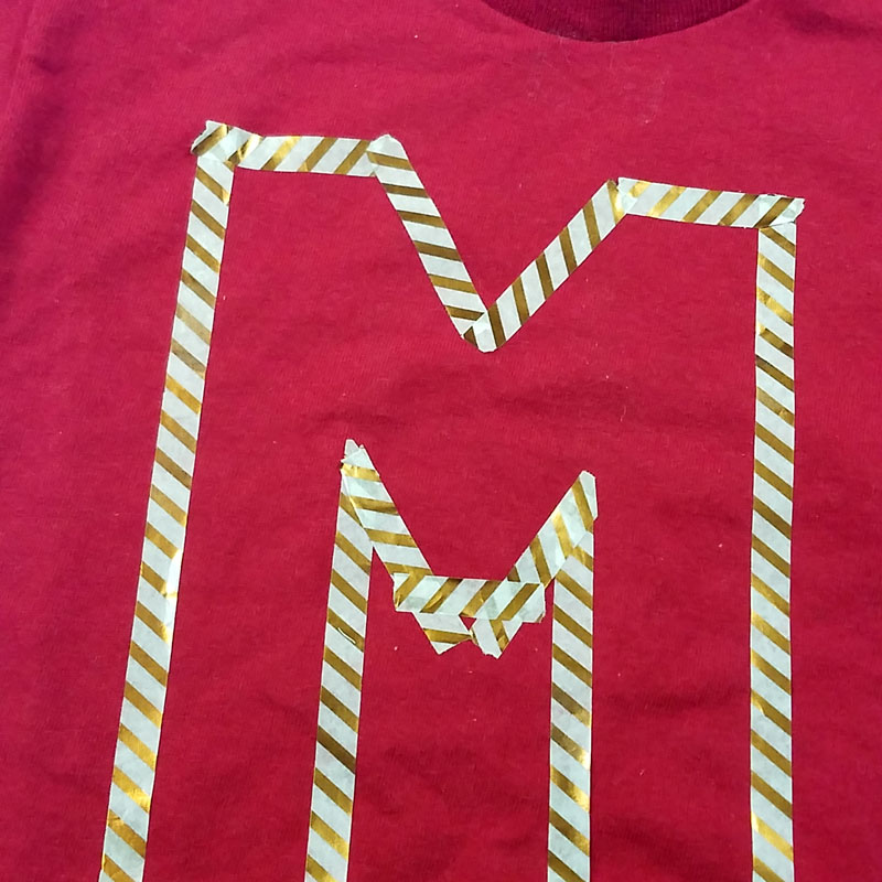 DIY monogram shirt step 2 - finish letter