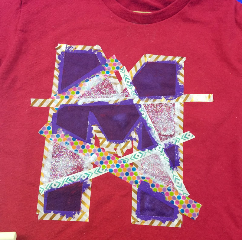 DIY monogram shirt step 4 - finish painting, allow to dry