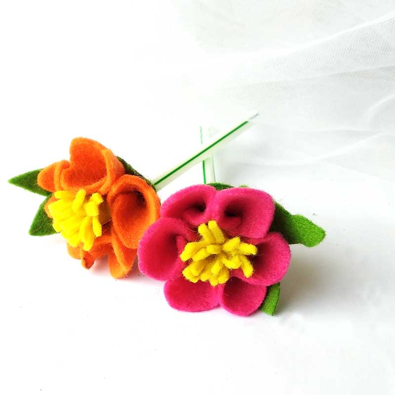 pink and orange felt flowers