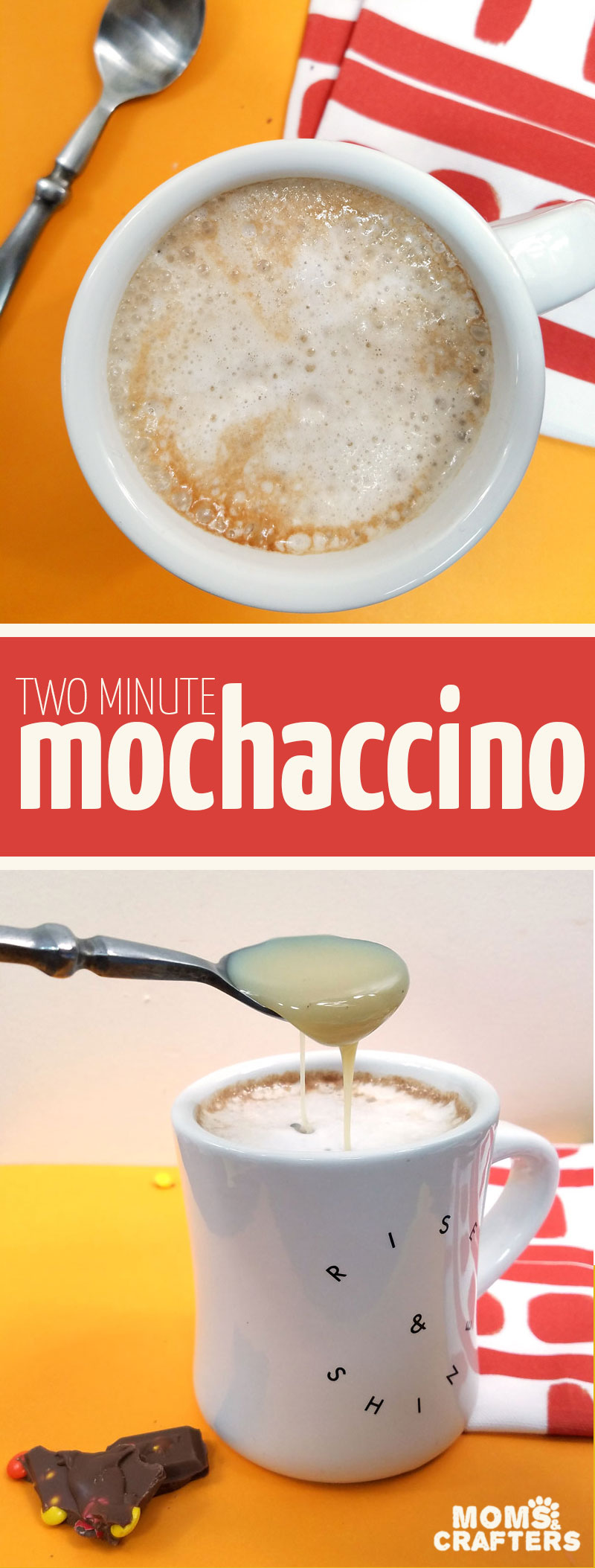 Whether you're looking for a heavenly Mother's Day breakfast idea, or just the occasional calorie splurge, this two minute mochaccino recipe is a delicious mochaccino latte and one of my favorite coffee recipes ever - caffiene included! #coffee #latte #momsandcrafters