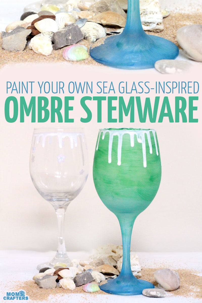 bec04073c51fe Make this beautiful and simple painted sea glass inspired stemware. This  beach decor is made