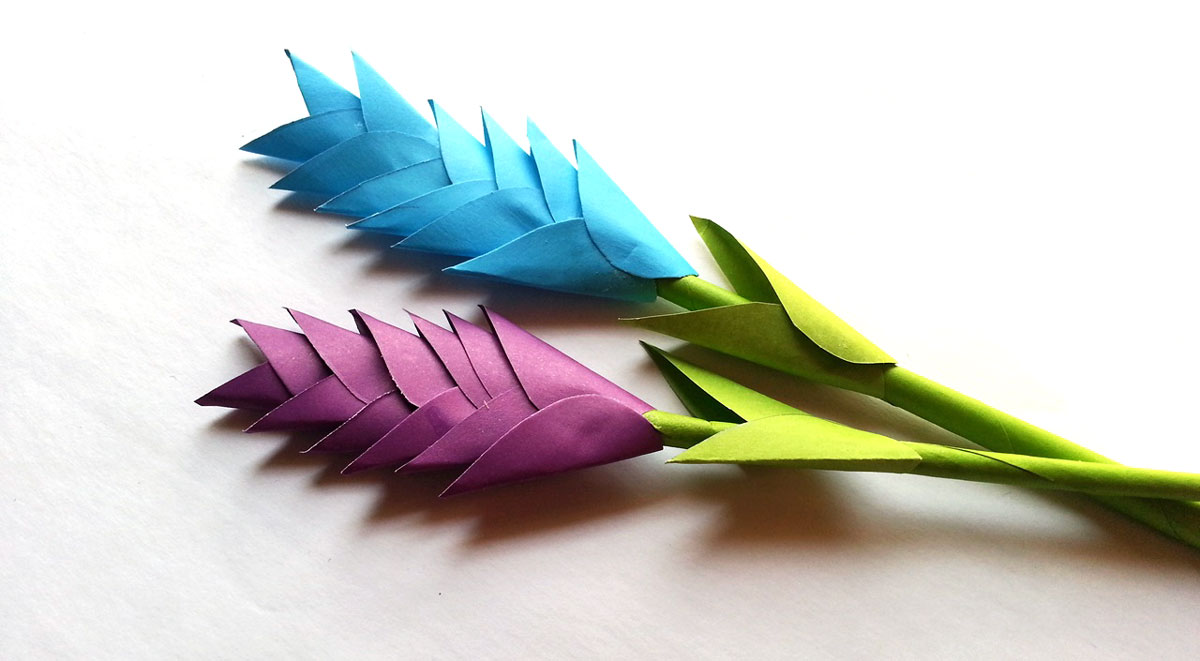 diy paper heliconia - blue and purple paper flowers