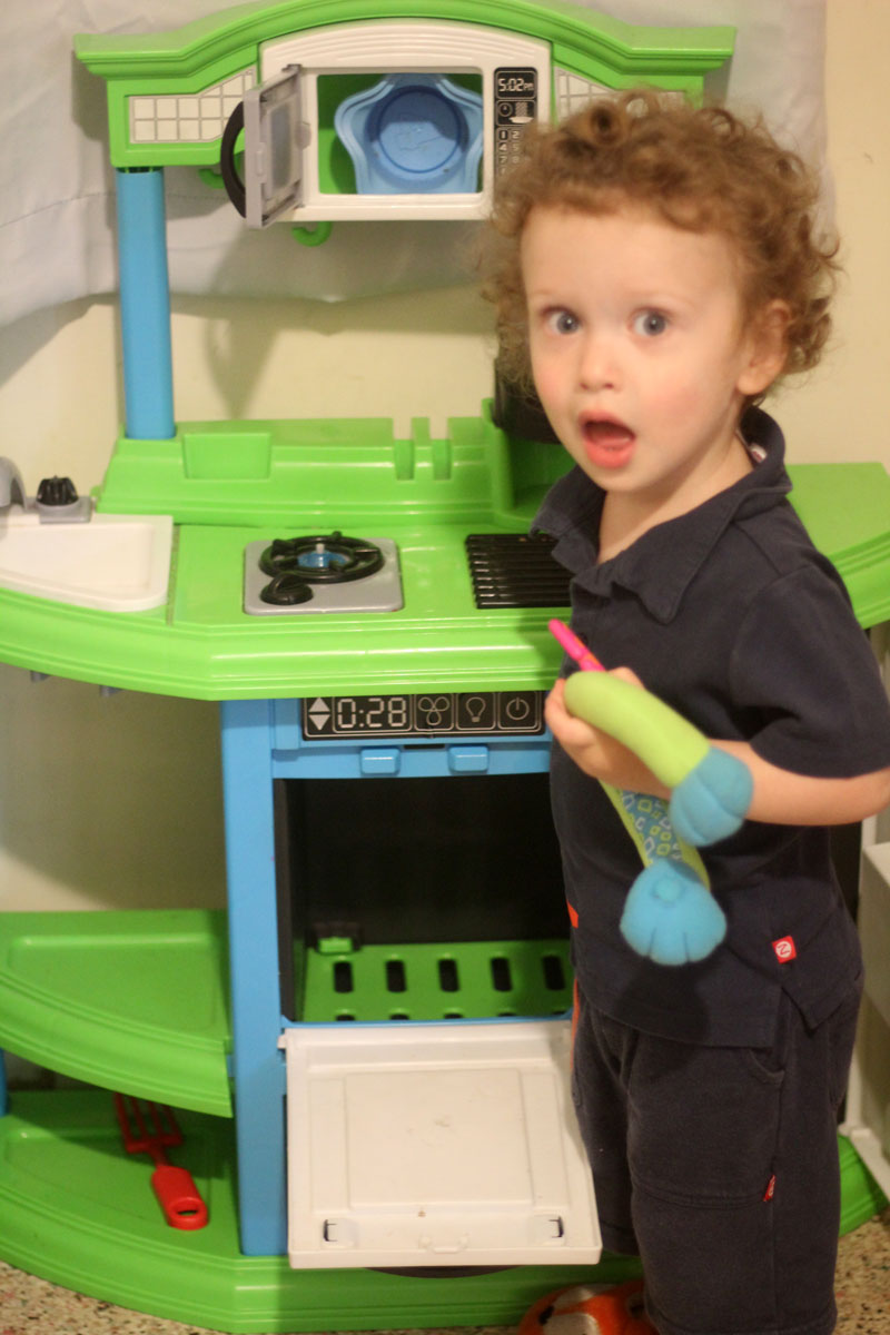One of the best birthday gifts for two year old boys is a toy kitchen!