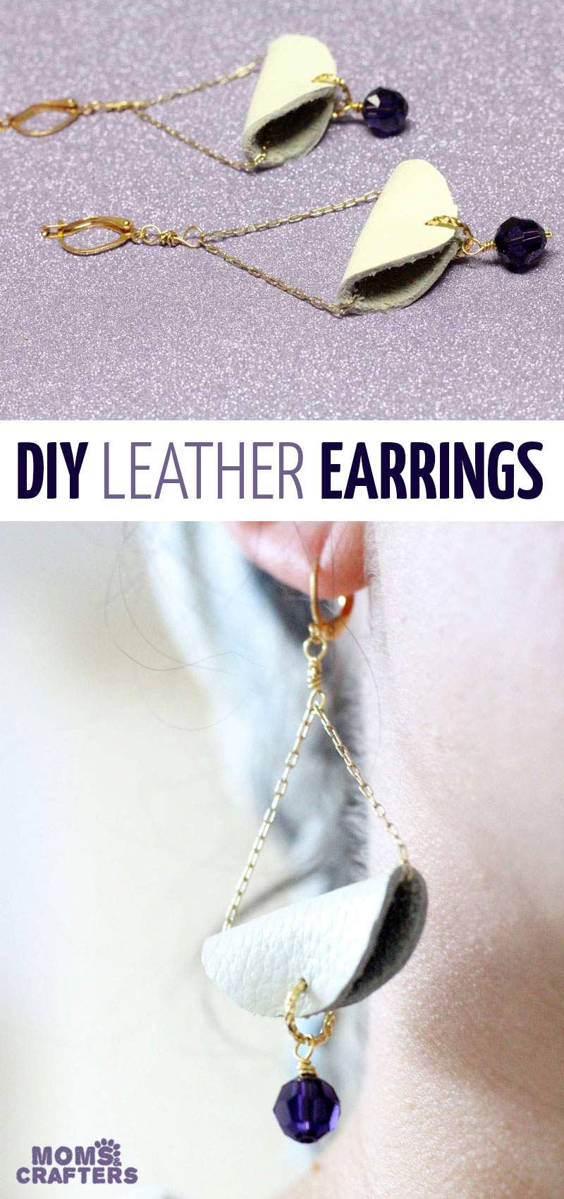 Make your own super cool DIY earrings! These easy dangle earrings tutorial have a slightly boho feel. This handmade leather and bead dangle earrings tutorial is an easy jewelry making craft idea for beginners. #earrings #jewelrymaking #momsandcrafters