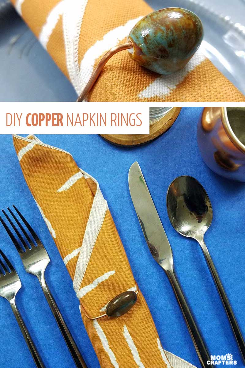 Create your own DIY napkin rings using copper wire and porcelain beads! You'll love this modern tablescape - click for more! #tablescape #diy #momsandcrafters